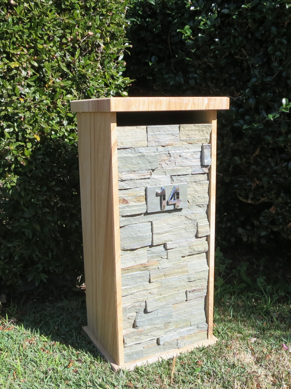 14. Custom made letterbox one pc unit pick up from store only (60kg unit), outside size 400x360x850mm Price $599