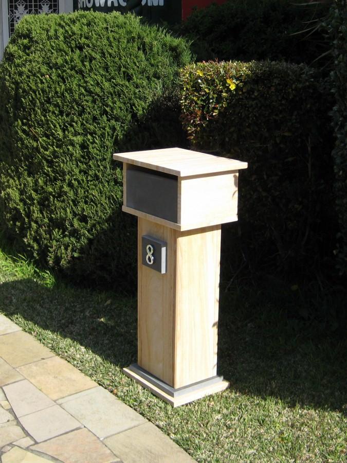 42. Sandstone with bluestone front, aluminium back door with 2 key lock lock 400x300x870 $387