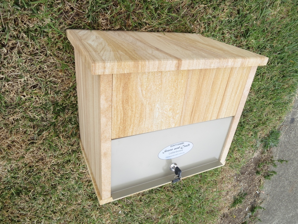 41. Letterbox top only ready to sit on pier or front fence or wall. Aluminium door with 2 keys large enough to fit A4 size magazines. 300x400mm and aproximately 330mm high. $290