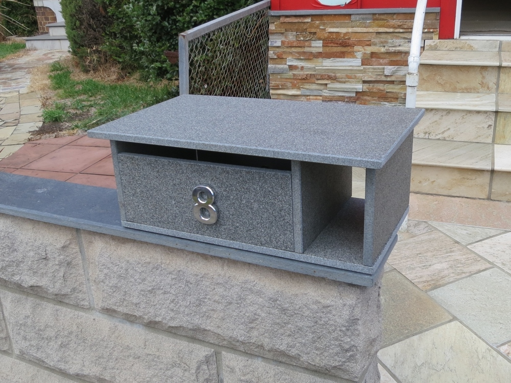 62. Blue stone letterbox top only ready to sit on pier or front fence or wall. Aluminium door with 2 keys large enough to fit A4 size magazines. 300x500mm and aproximately 200mm high. $330