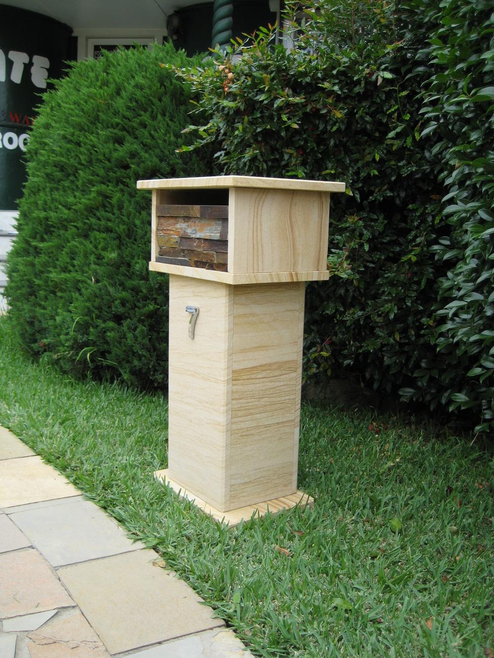 59. Sandstone, slate stacker front letterbox. Aluminium back door with 2 key lock 820x400x290 $427