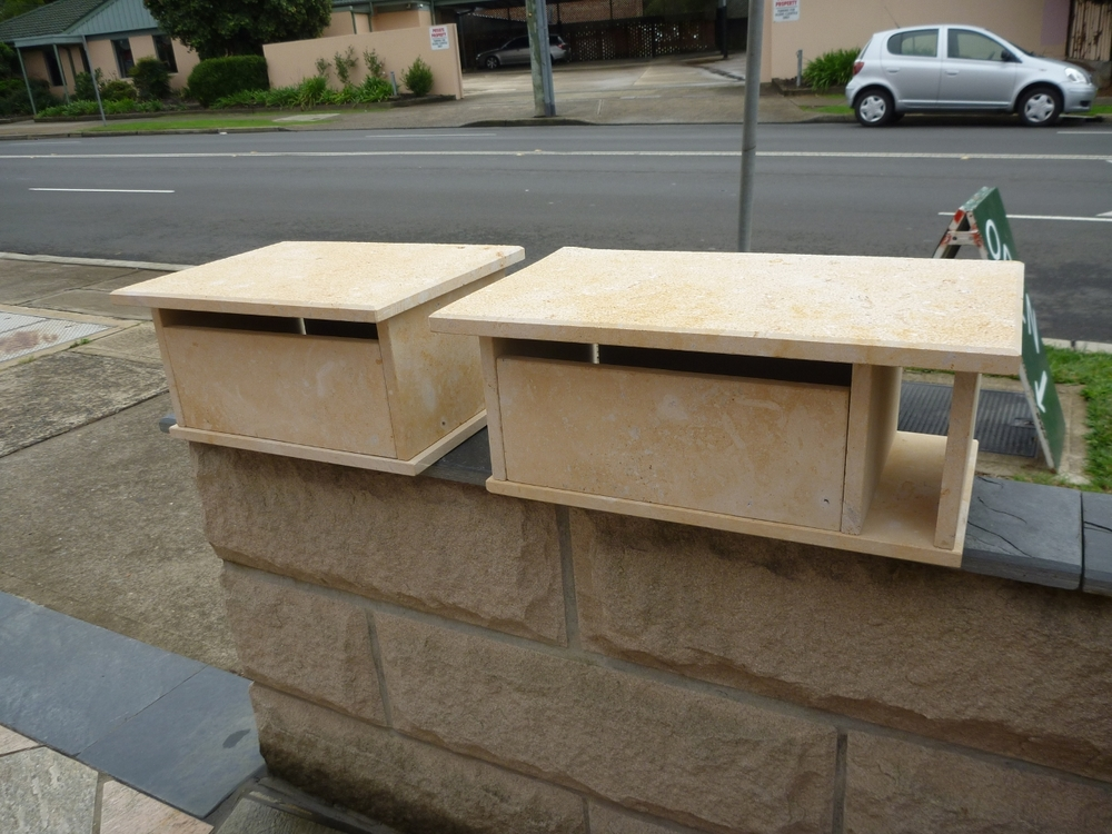 77. Limestone letterbox, top part only, small 300x400mm $250. large with paper slot $280