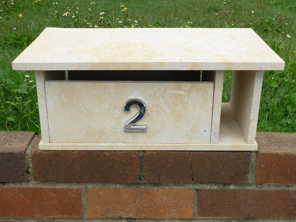 16. Limestone letterbox, top part only, 300x500mm $320