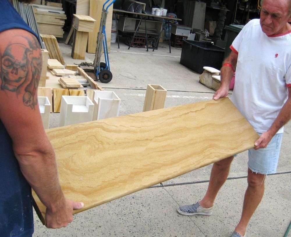1. Woodgrain sandstone steps bullnosed