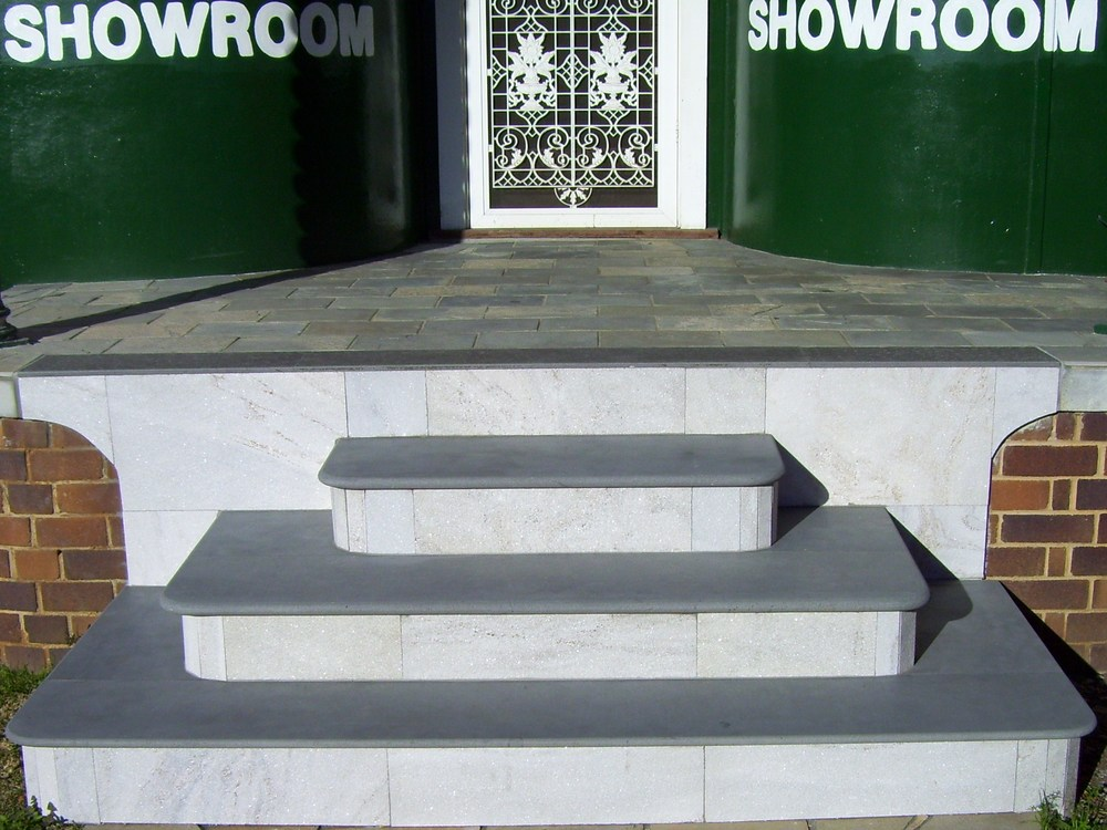 4. 20mm, 30mm and 40mm thick honed Mongolian Black steps are excellent for heritage buildings. It is popular combined with tessellated tiles as patio edging.