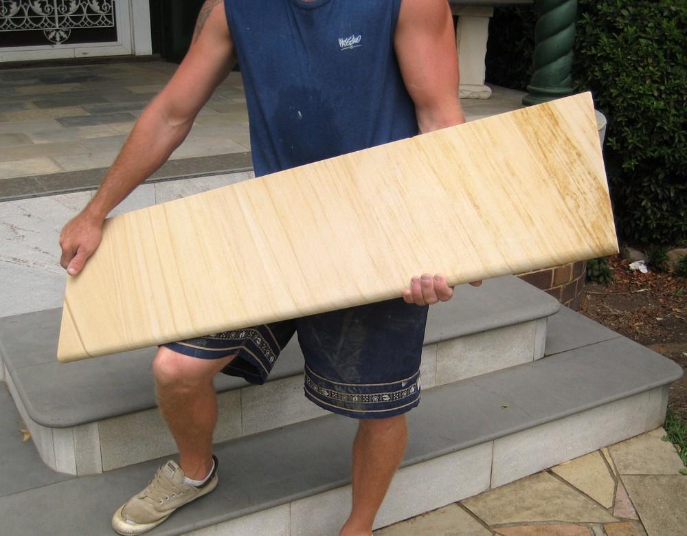 6. Woodgrain sandstone steps bullnosed