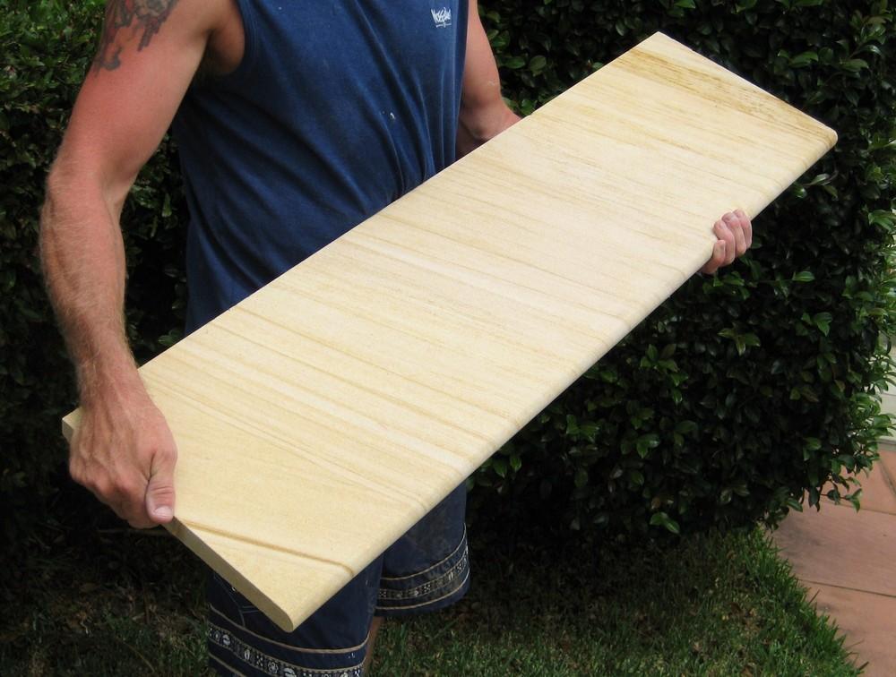 7. Woodgrain sandstone steps bullnosed