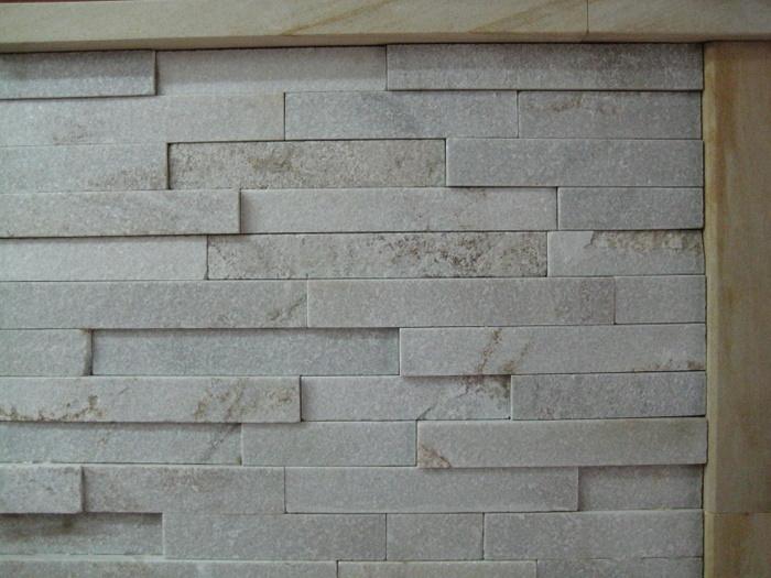 50. White crystallised quartzite stacked stone is extremely dense