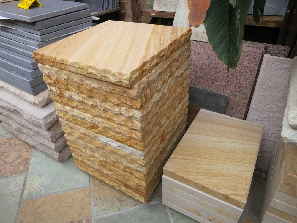 19. Sandstone capping woodgrain colour 40mm thick rockface edges size 400x400 $50 for 1st quality