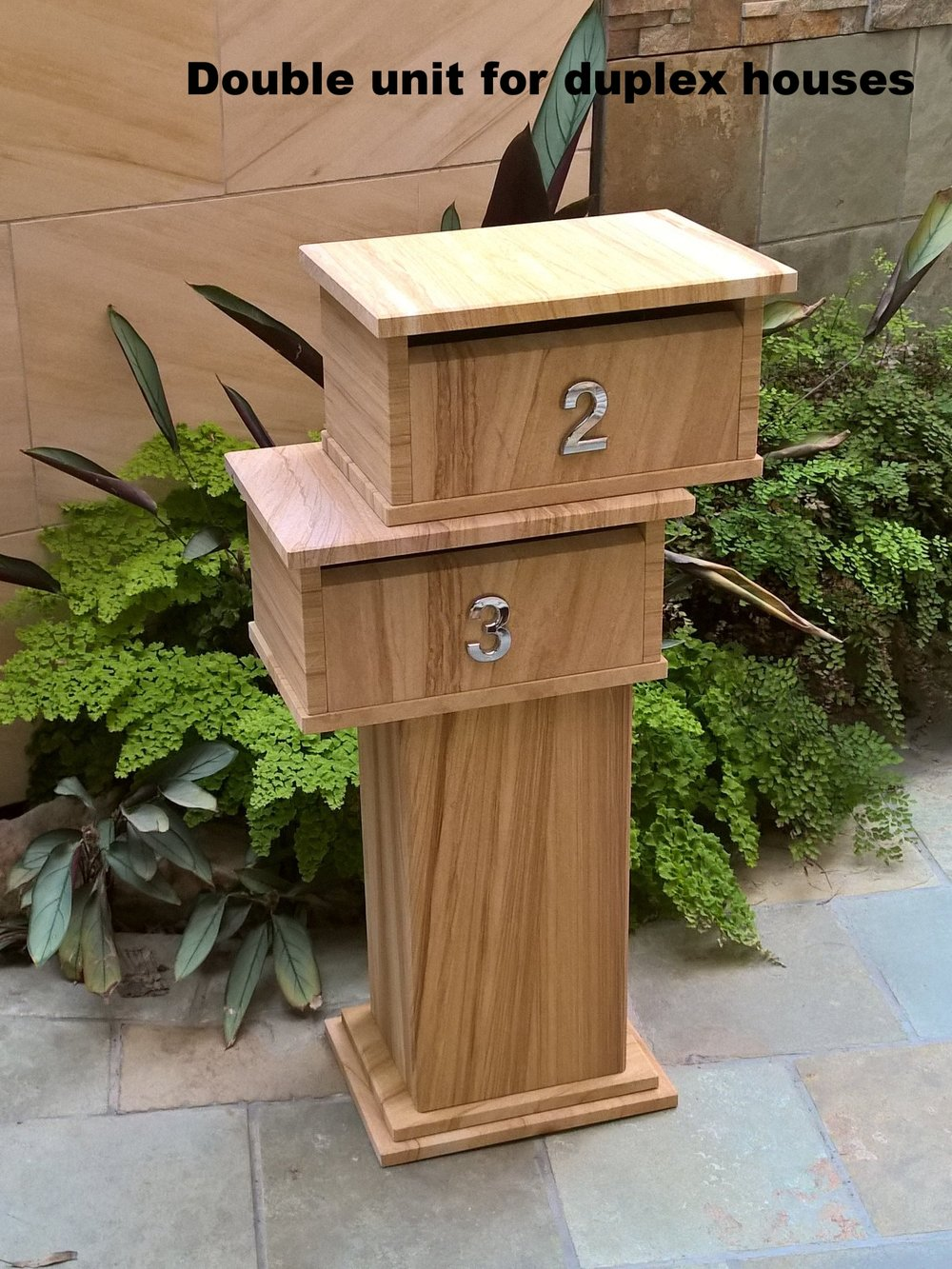 120. Dual Sandstone letterbox about 1000mm high fit A4 envelopes. Cost $680
