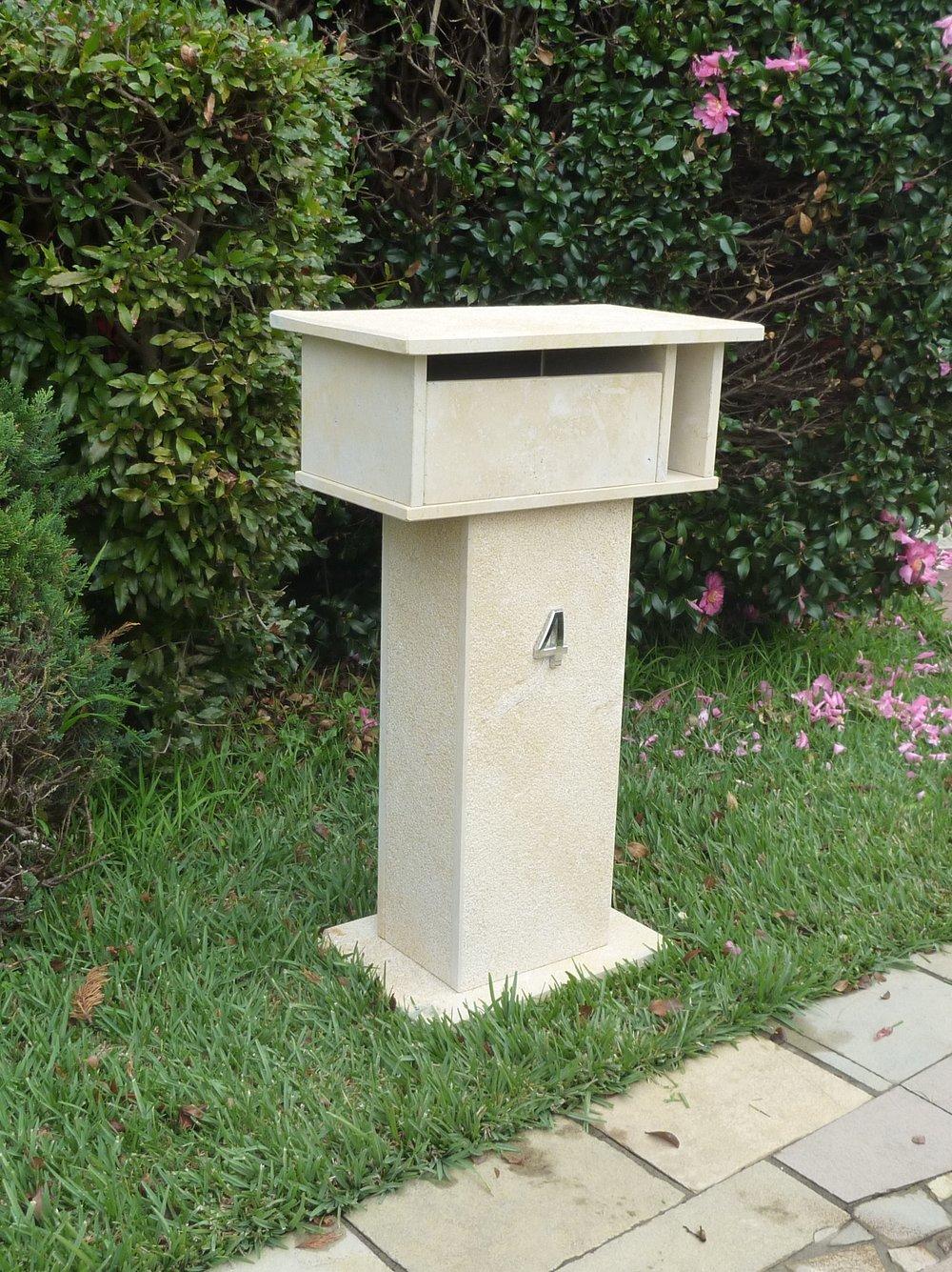 7a. Limestone Letterbox 820 high takes A4 envelopes aluminium back door with 2 key lock 820x500x290 $480