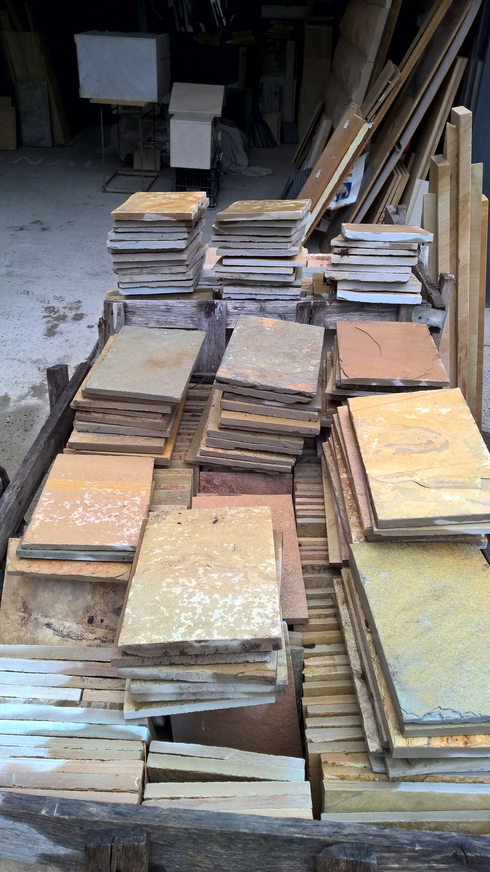 1. Multicolour tiles Golden Amber 200x300 sawn edges about 15 to 20mm thick. Hard good for inside outside. $30 per m2