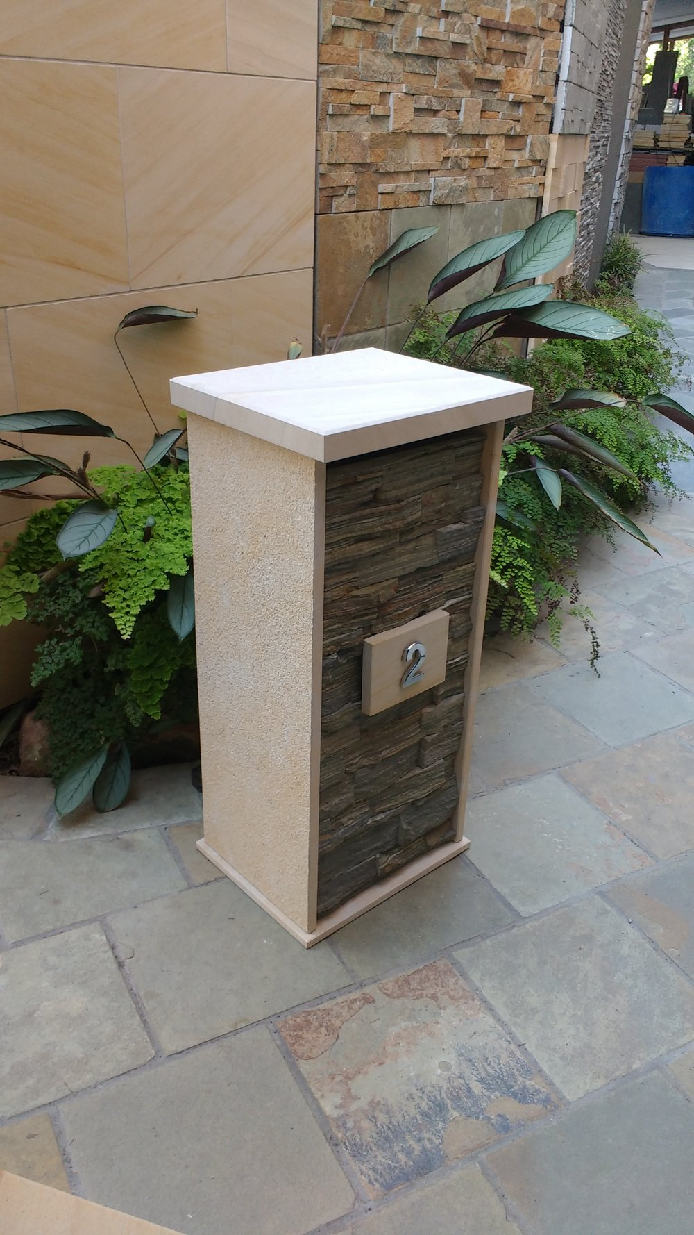 20a. sandstone limestone combination with stacker stone front 860mm high 400mm wide and 350mm deep. Cost $610
