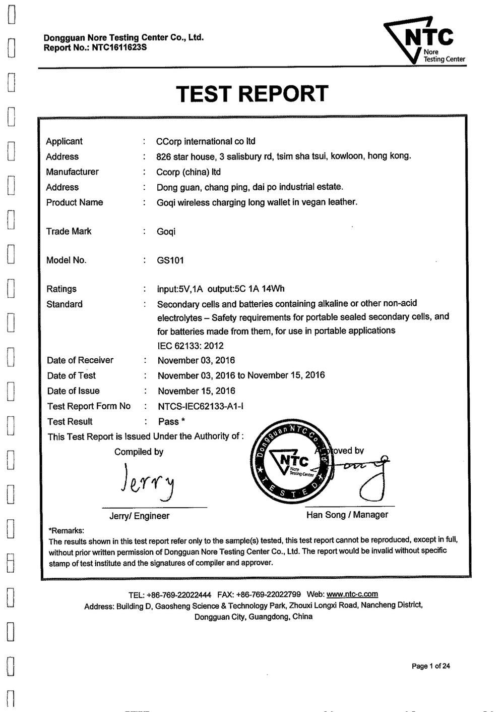 Certifications iec62133 goqi wireless charging wallets xflitez Images