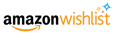 "[Image Description: Yellow, orange, and black text say, ""Amazon Wishlist"". An orange arrow is under the word ""amazon"" and orange, red, and blue stars sit on the upper right hand corner.]"