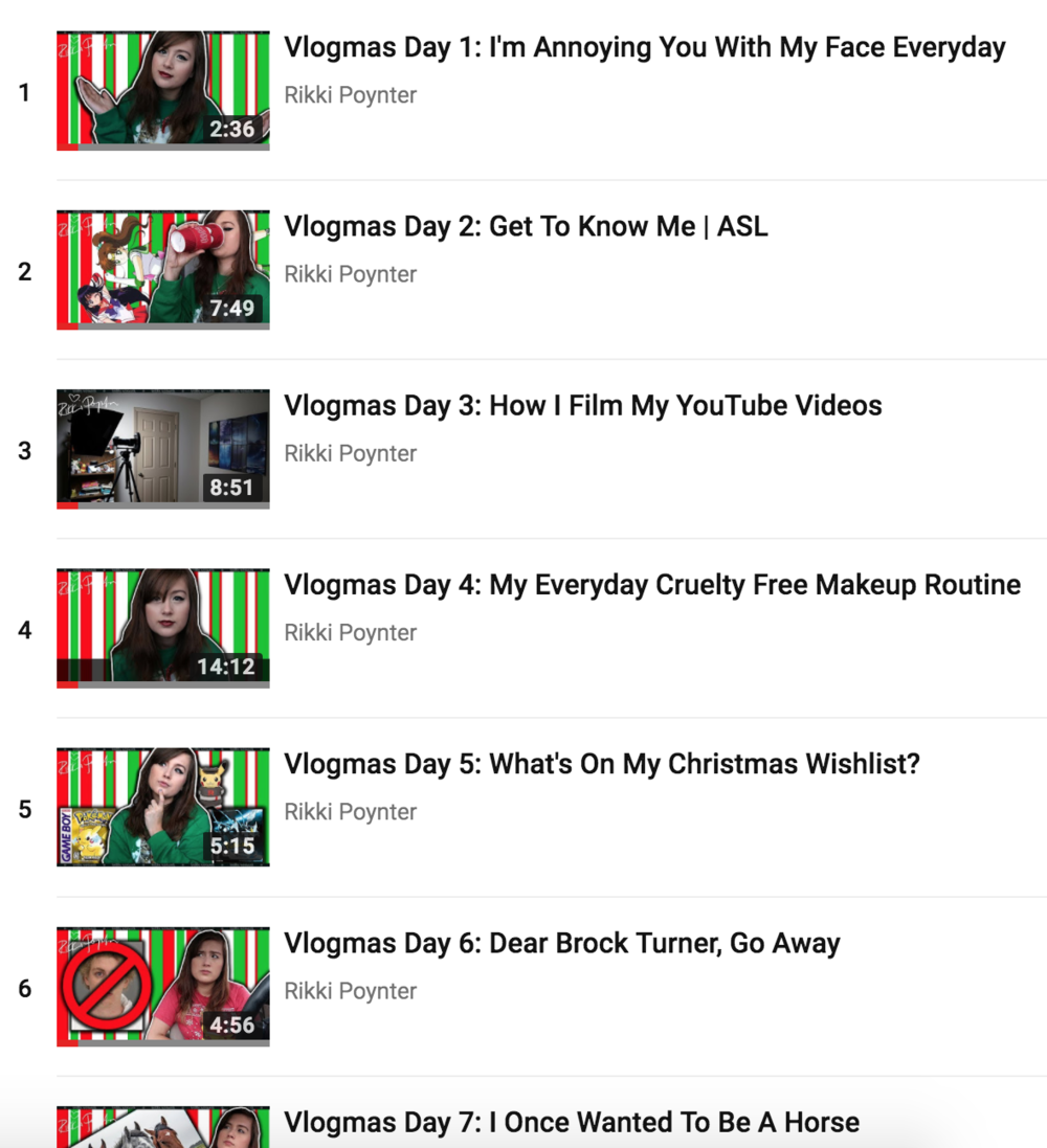 [Image Description: A screenshot of Rikki's Vlogmas 2017 videos Playlist on YouTube]