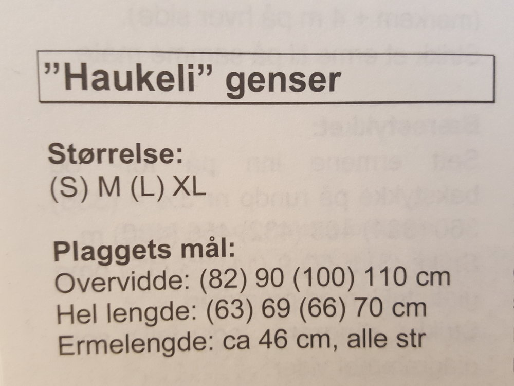 """Sandnes fikk mye pes for størrelsene på Haukeligenseren sin. Her er målene fra Temahefte 39. Merk at """"L"""" er 100 cm i omkrets"""