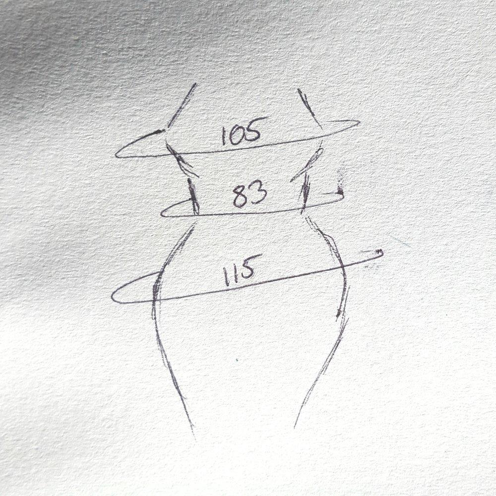 Vit målene dine! Her er overvidde 105 - midje 83 og hofteomkrets 115. Hvis jeg skal ha noe som sitter inntil hele veien må jeg altså trikse og mikse endel med maskeantallet. Men det er jo lov!