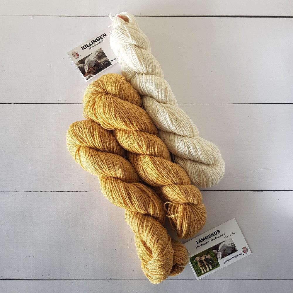 Jeg syns vanligvis Kasjmir blir litt vel staselig garn til babyer, men okei da - fargen! og navnet! Lammekos <3 Jeg plukket med et hvitt nøste med ren kasjmir også for å kunne kombinere med det gule.