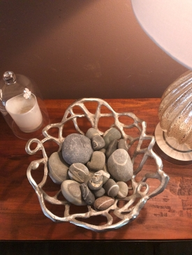 While the basket is more modern and new, and these stones are from one of the best trips my husband and I took to Canada. They are called