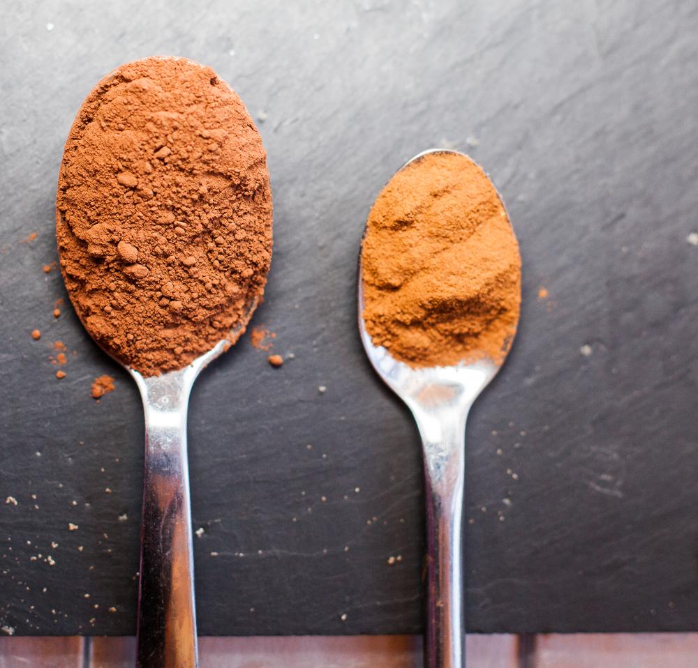 A spoon of Chocolate powder & Tea spoon of Cinnamon