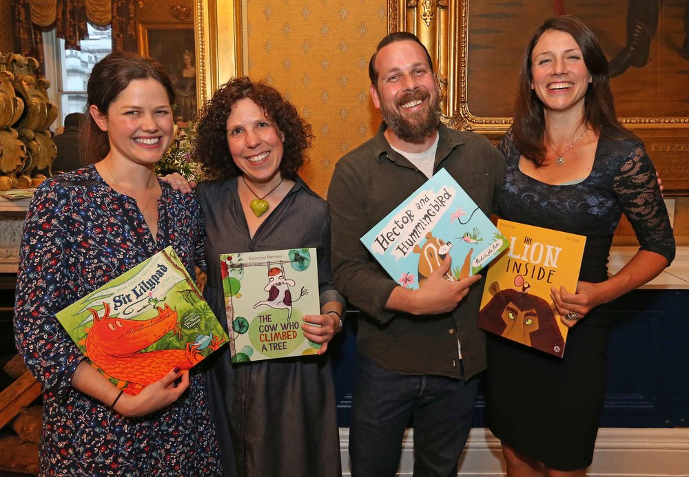 Four of this year's nominees for Oscar's Book Prize: Anna Kemp, winner Gemma Merino, Nicholas John Frith and Rachel Bright