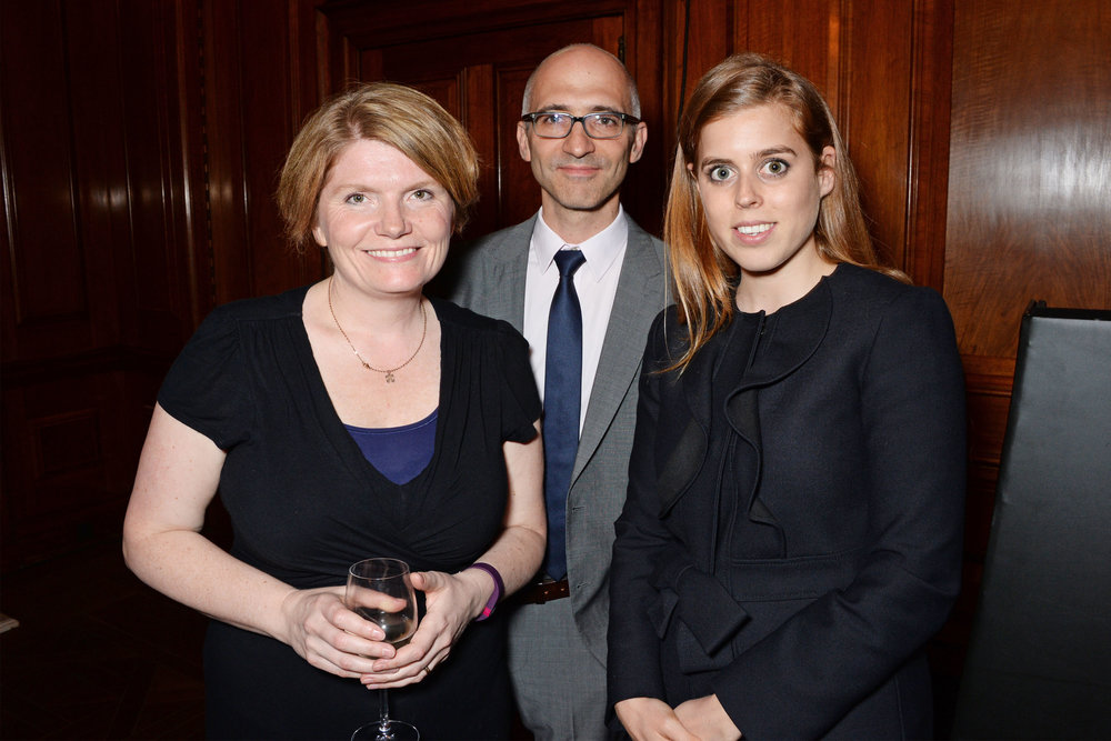 Cathy Rentzenbrink, author and judge of the 2017 Oscar's Book Prize, together with fellow judge Dan Mucha, director of books at Amazon, and also Oscar's Book Prize patron HRH Princess Beatrice. (Photo: Dave Benett)