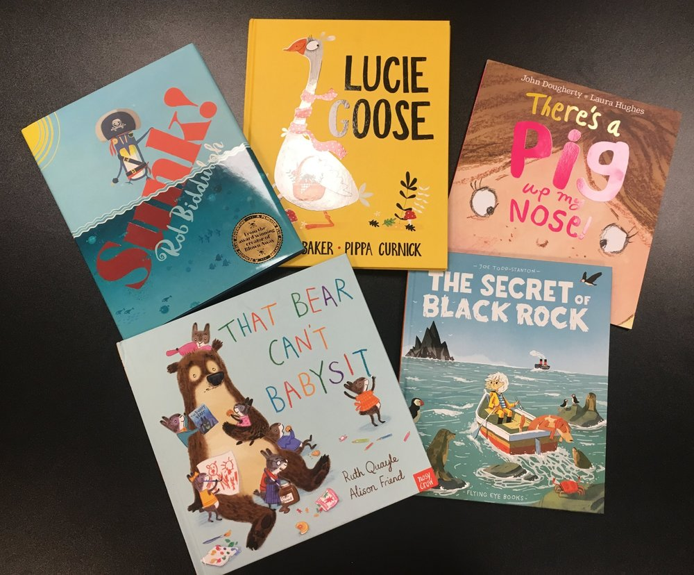 The five shortlisted books for Oscar's Book Prize 2018: Sunk!, Lucie Goose, That Bear Can't Babysit, There's a Pig Up My Nose and The Secret of Black Rock