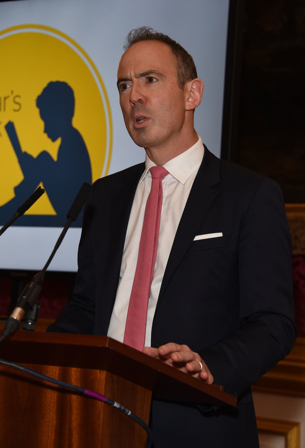 James Ashton, founder of Oscar's Book Prize and Oscar's father, speaking at the awards ceremony. Image: Dave Benett