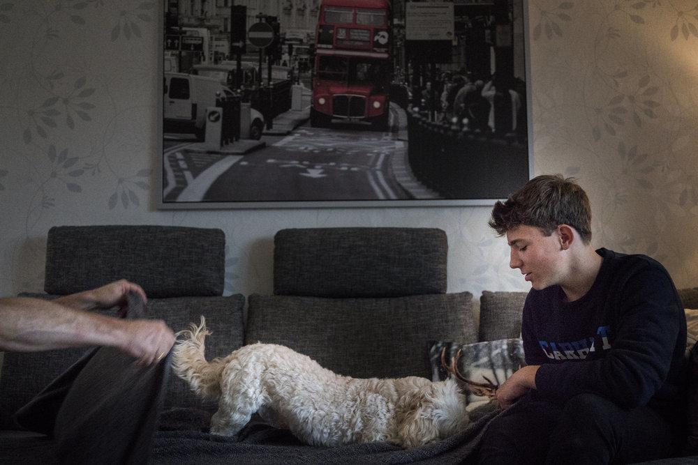Bild aus einer Familienreportage mit älteren Kindern mit Junge der auf Sofa sitzt und einem Hund, der ins Bild flitzt