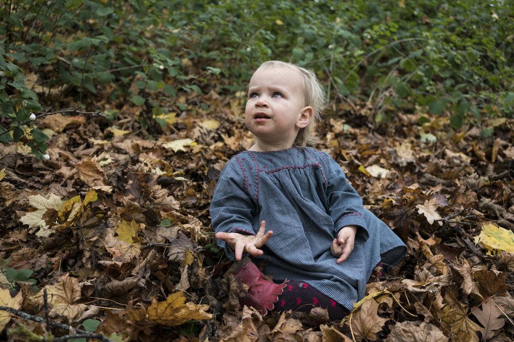 Eines meiner besten Familienfotos - Kind draussen im Laub