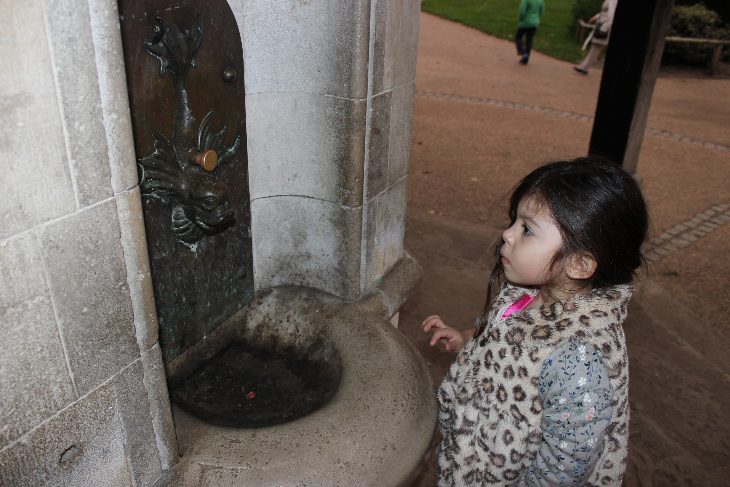 Curiosity at the old drinking fountains in Kensington Gardens