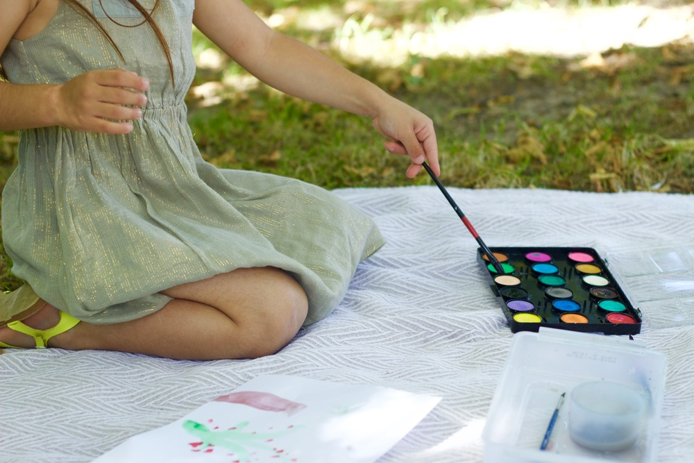 outdoor painting with kids