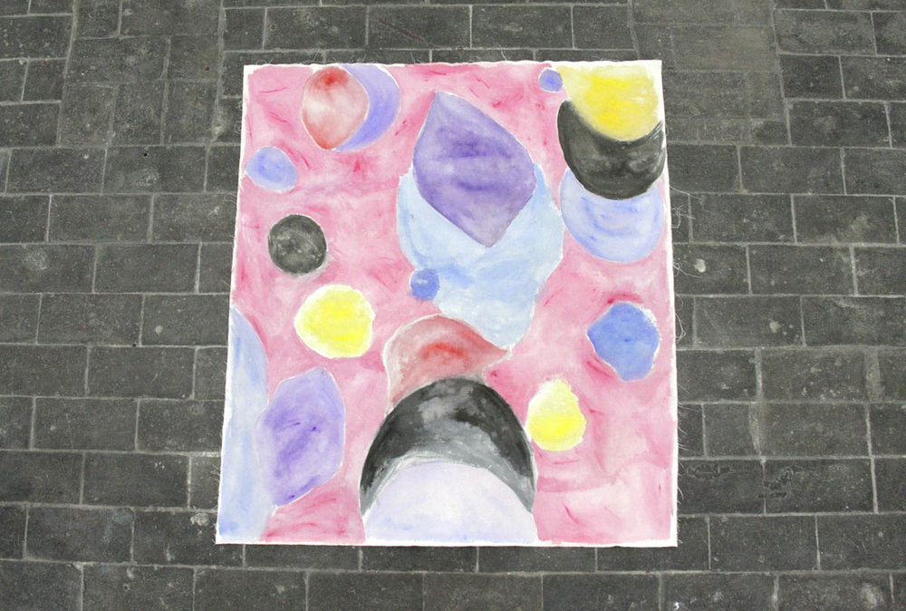 Altar Cloth One by Claire de Lune 2016, watercolour and gouache on canvas fabric, 114 x 100 cm