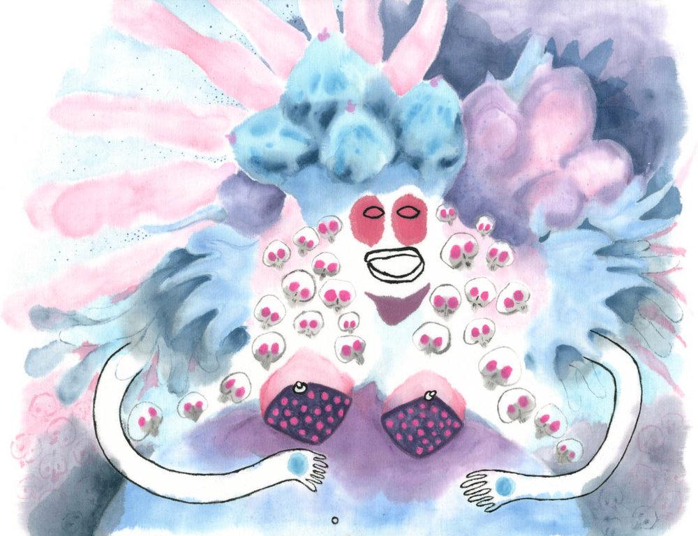 Baba Yaga by Claire de Lune 2015, textile paint on cotton fabric, 41 x 34 cm