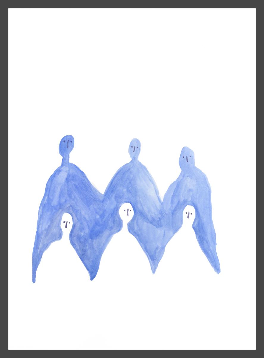 Group (blue) by Claire de Lune 2016, watercolour on paper, 31 x 42 cm