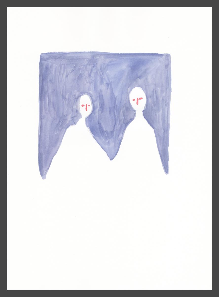 Pair (blue) by Claire de Lune 2016, watercolour on paper, 31 x 42 cm