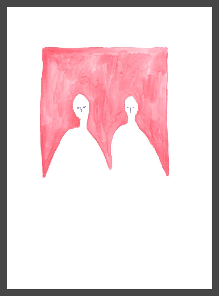 Pair (red) by Claire de Lune 2016, watercolour on paper, 31 x 42 cm