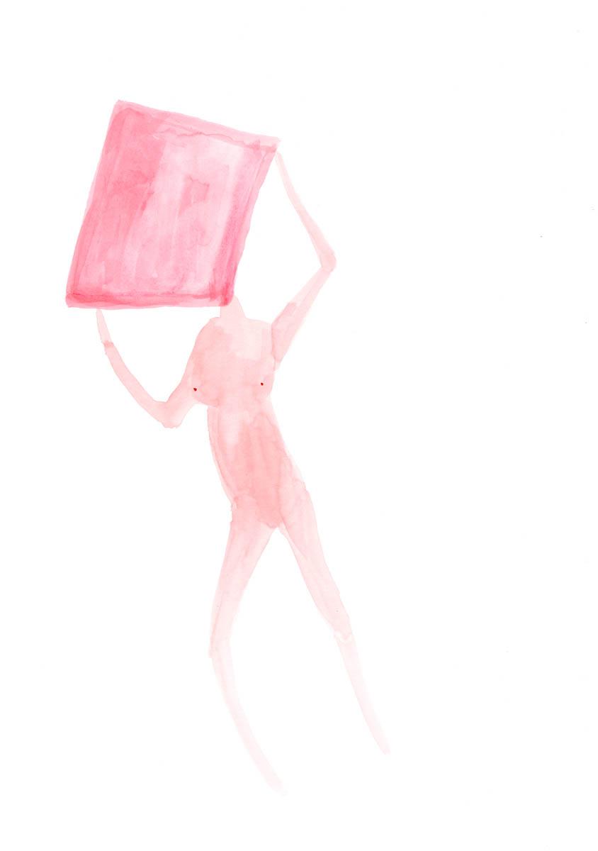 Square Head by Claire de Lune 2015, watercolour on paper, 30 x 42 cm