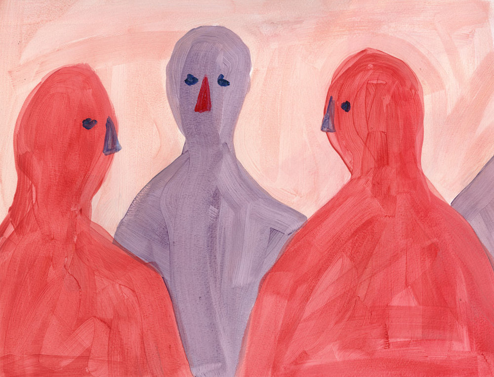 Three Friends Talking by Claire de Lune 2016, gesso and acrylic on paper, 29 x 38 cm