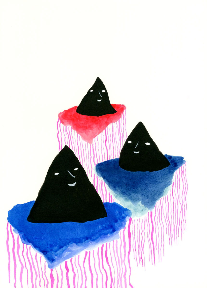 mountains by Claire de Lune, acrylic ink on paper, 29 x 42 cm