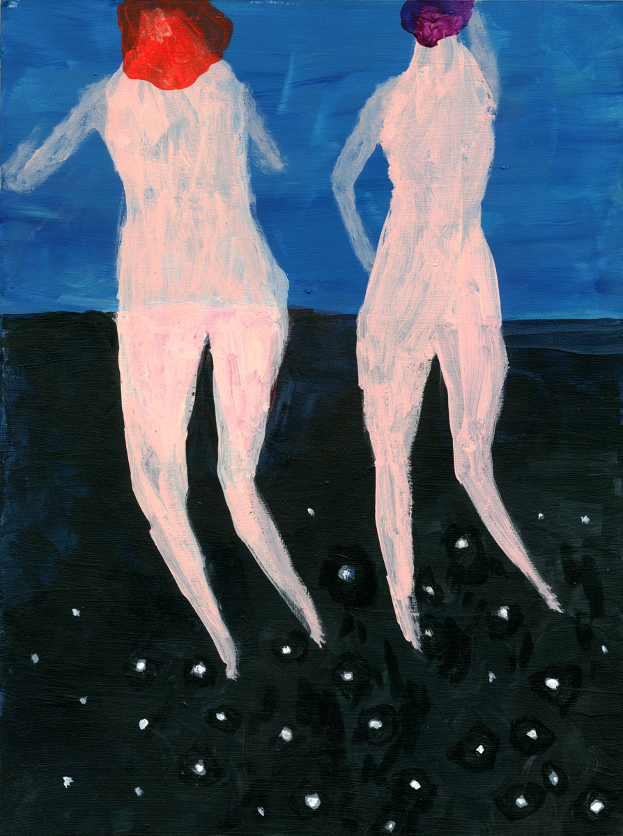 Swimmers one by Claire de Lune 2016, acrylic on plywood board, 21 x 29 cm