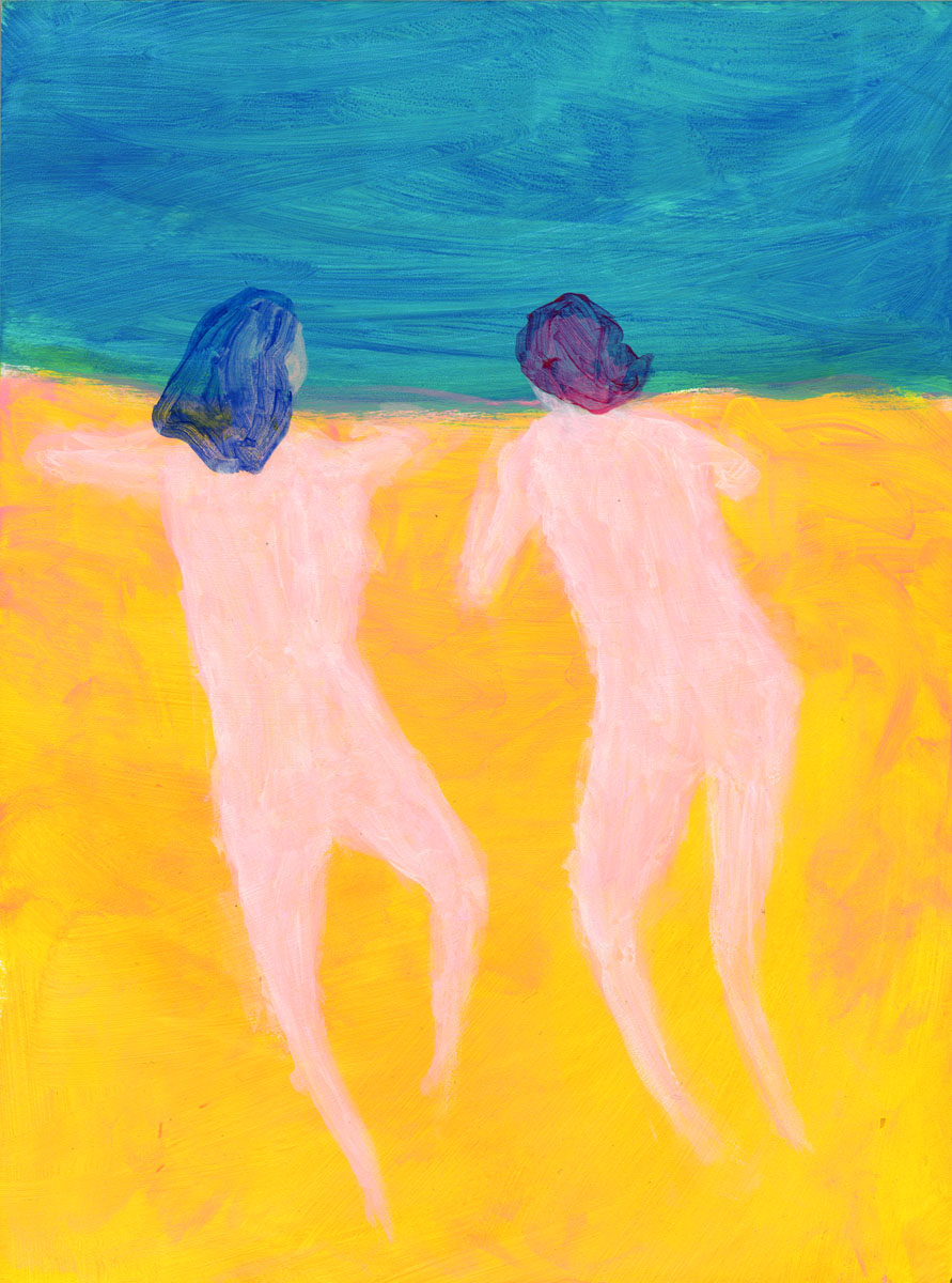 Swimmers two by Claire de Lune 2016, acrylic on plywood board, 21 x 29 cm