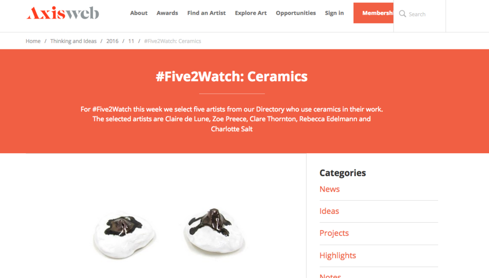 Claire de Lune on Axisweb #Five2Watch - article from Axisweb featuring ceramic artists to watch