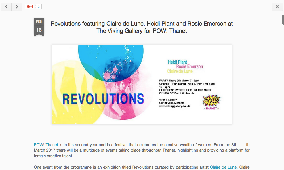 Claire de Lune, Heidi Plant and Rosie Emerson feature interview by CT9 - a lovely interview in CT9 about our recent exhibition REVOLUTIONS and why women are awesome