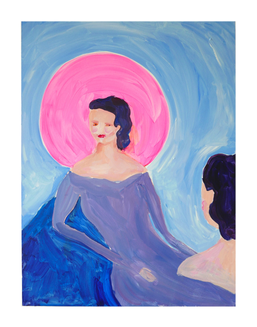 The mirror by Claire de Lune 2018, acrylic and gesso on hardwood panel, 40.5 x 31 cm