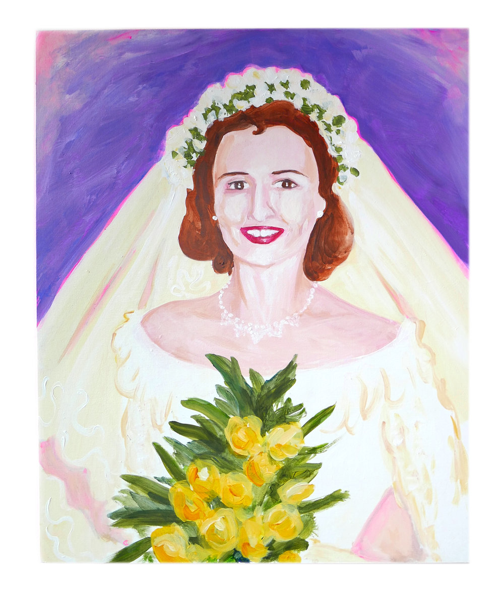 Granny on her wedding day by Claire de Lune 2018, acrylic and gesso on hardwood box panel, 40cm x 51cm x 5cm