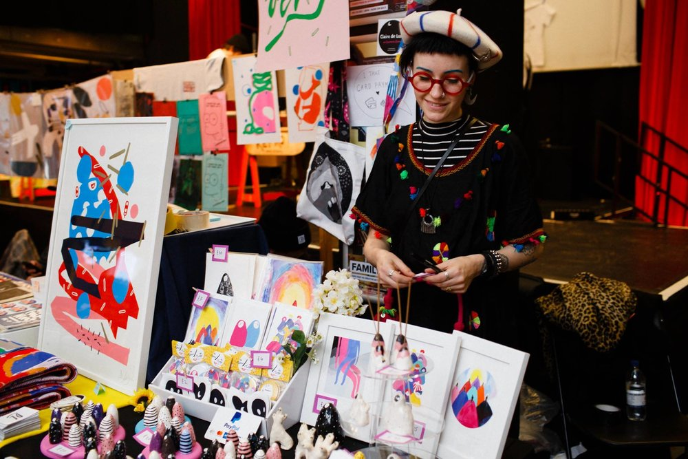 At the DIY Art Market, Rich Mix, London