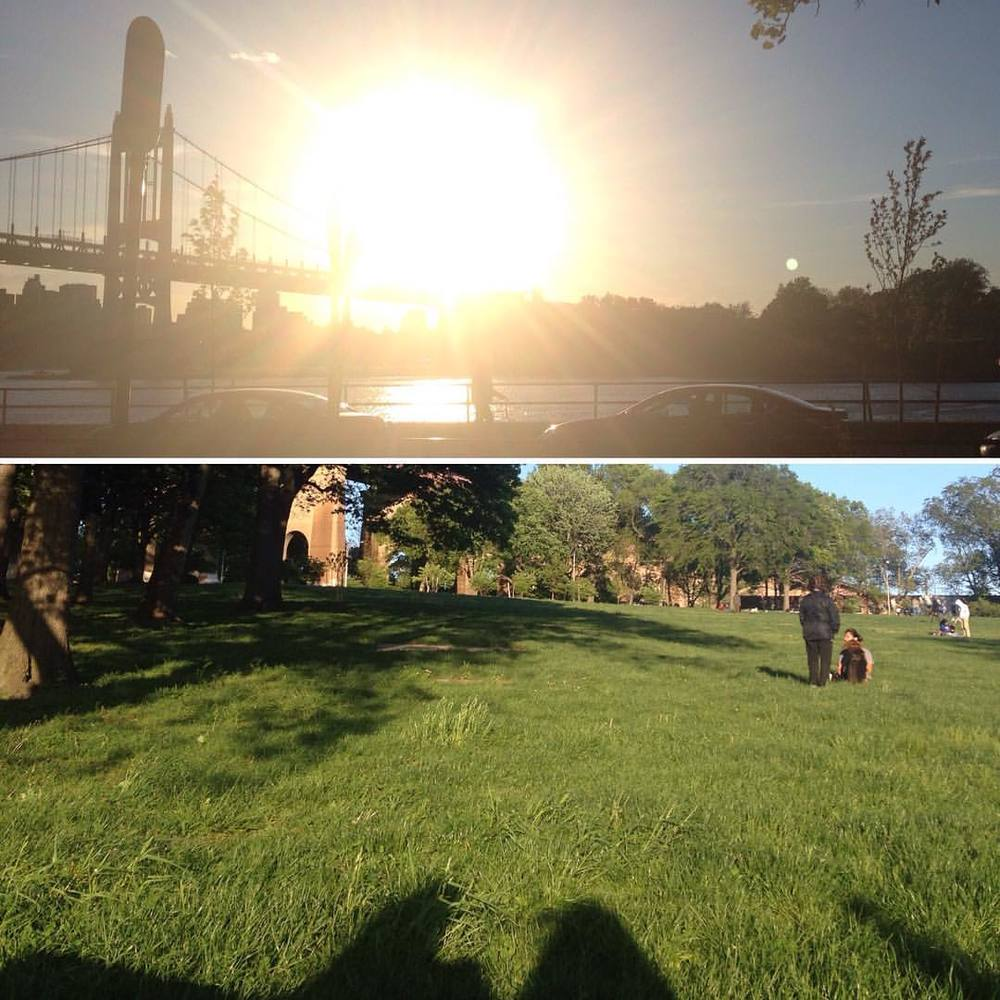 See you Thursday at @stackedyoga at 9:30am and stepping in @puravidaurban at 7:30pm. Chair yoga on Saturday and back to back @stackedyoga on Sunday 10am and 12p  Two views, One spot. #nofilter #yogaforall #moresunplease #onelove  (at Astoria Park)