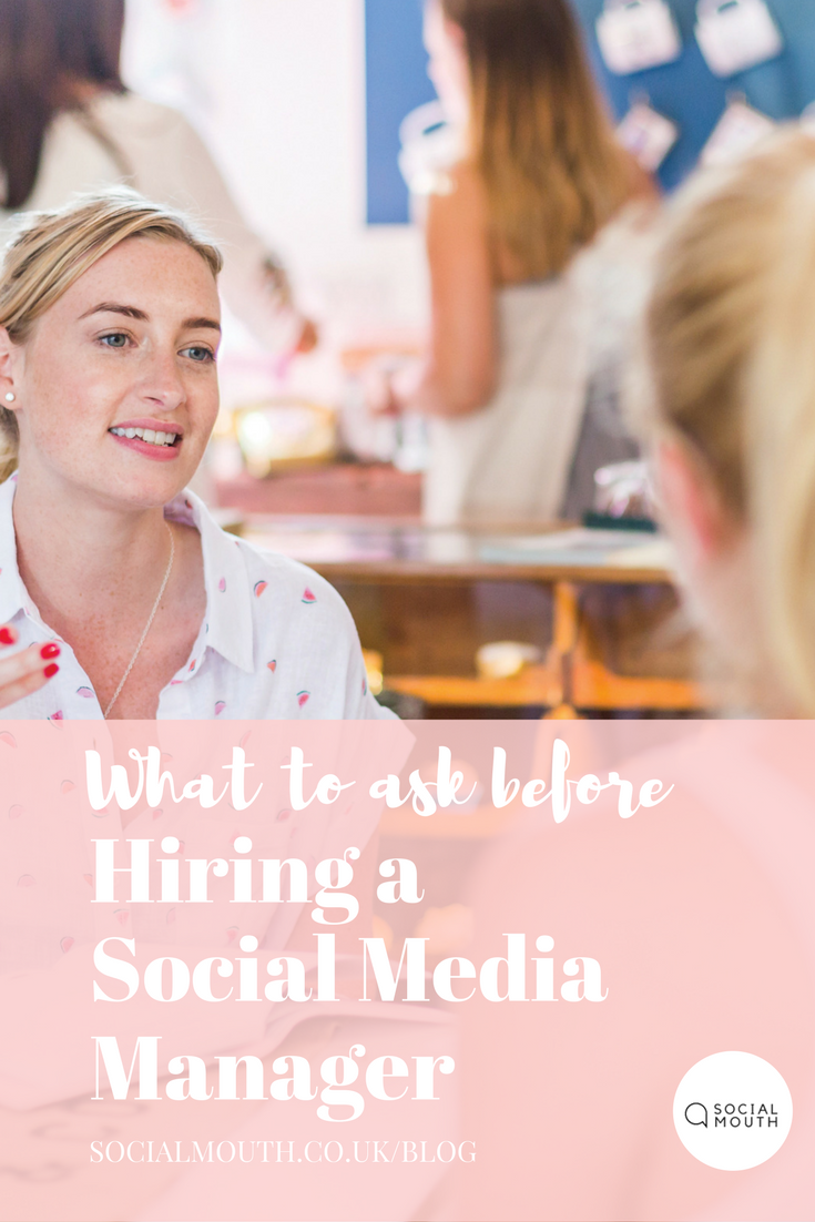 "Hiring a Social Media Manager is an investment for your business. With so many ""experts"" popping up - what questions should you be asking to ensure you have the right match for your brand. socialmouth.co.uk/blog"